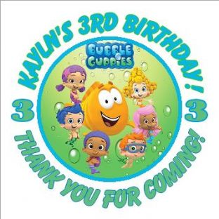 Personalised Bubble Guppies Party Stickers